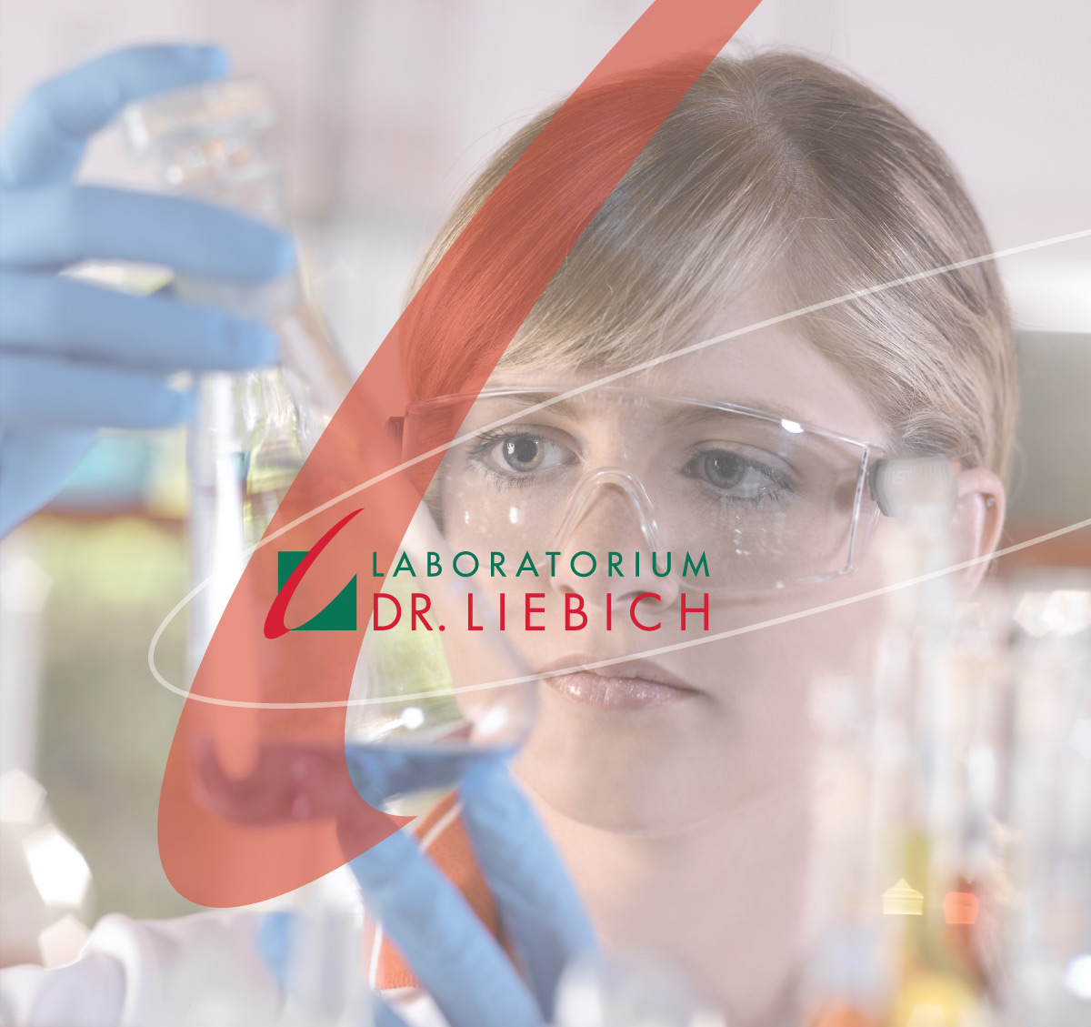 Laboratory staff checking the contents of a flask with the logo of Laboratorium Dr. Liebich on top